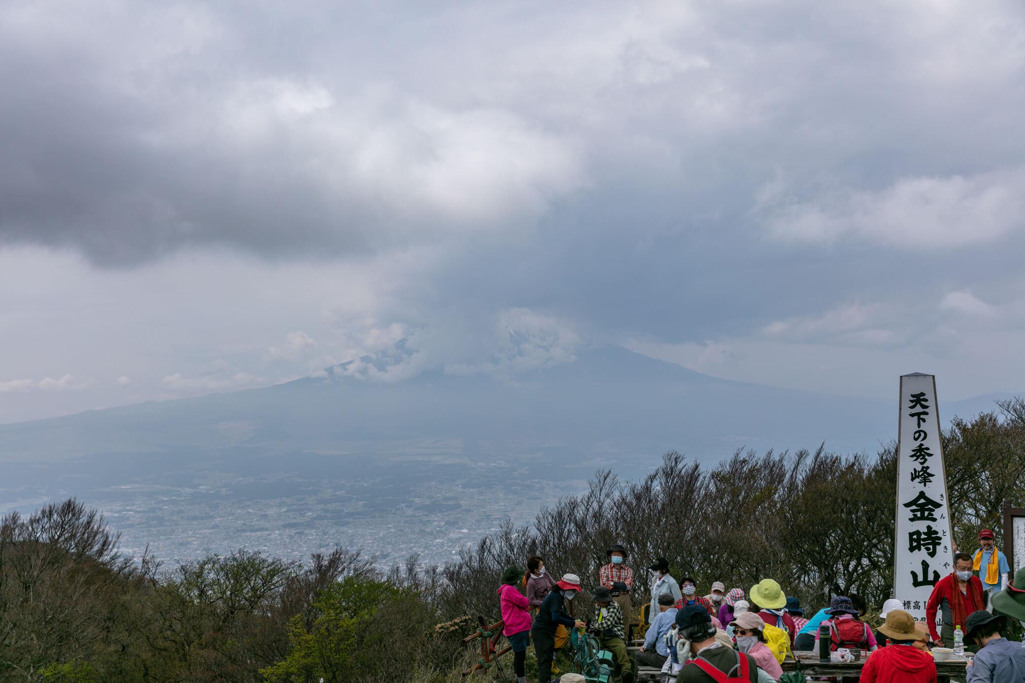金時山 山頂での富士山
