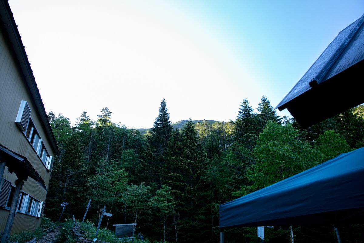 八ヶ岳 オーレン小屋から見る硫黄岳